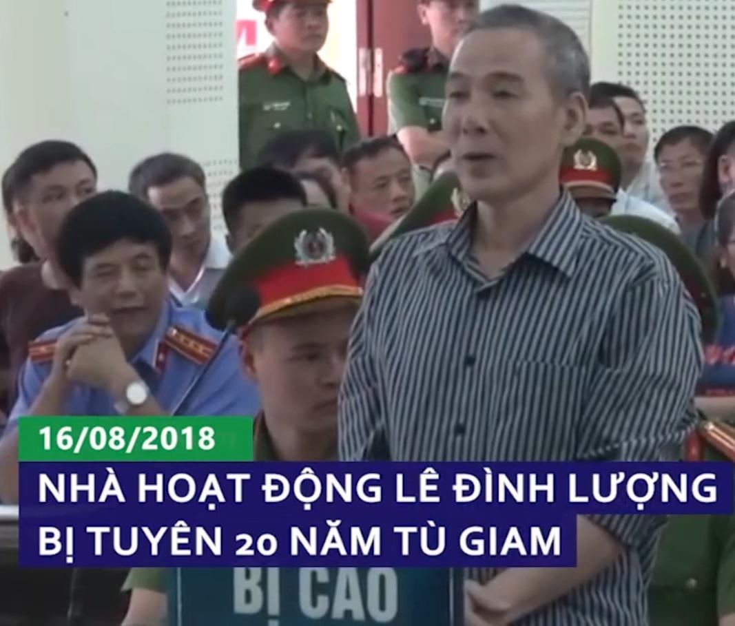 Nhà hoạt động Lê Đình Lượng bị tuyên án 20 năm tù giam và 5 năm quản thúc