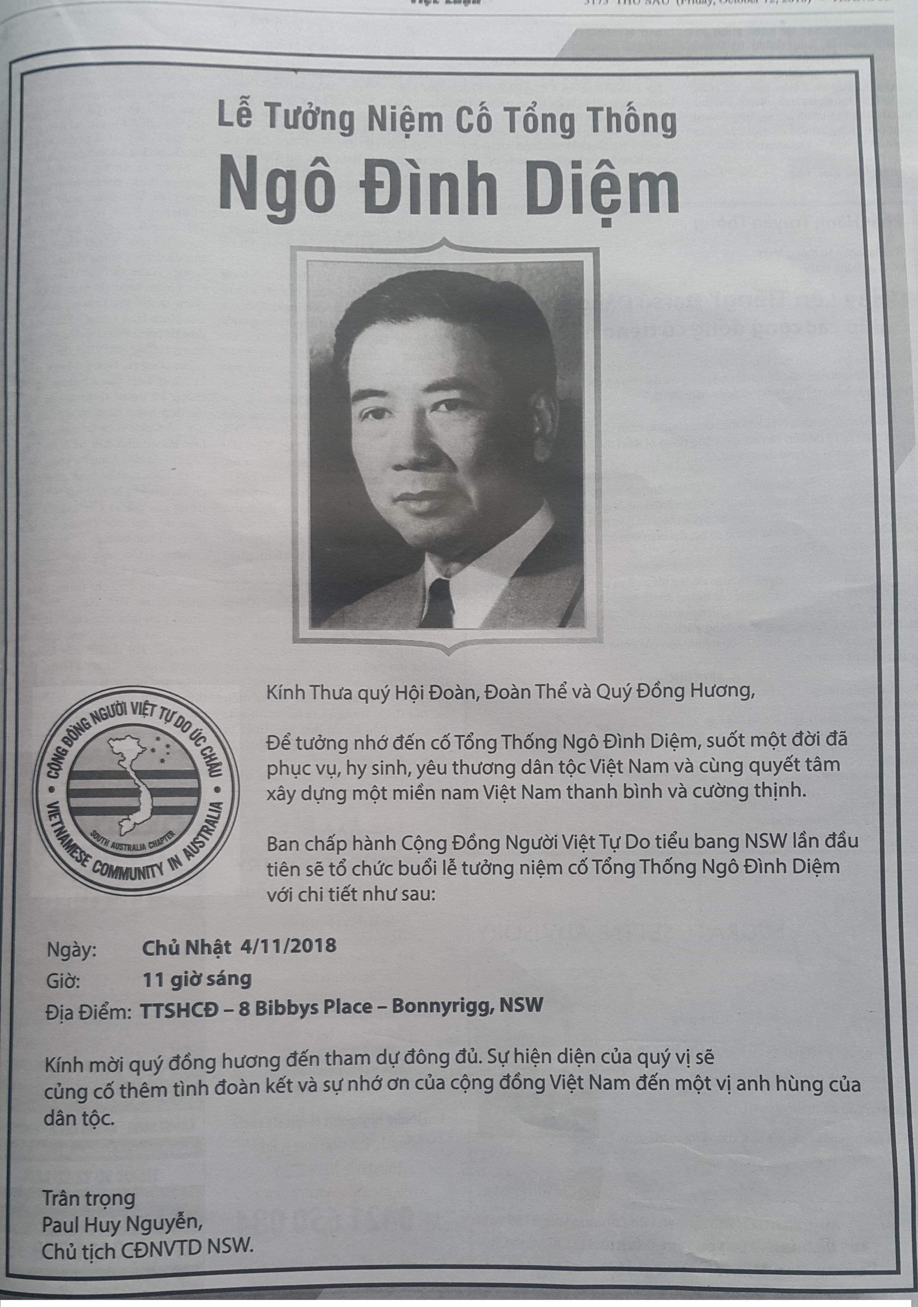 Lễ tưởng-niệm cố Tổng thống Ngô-đình-Diệm