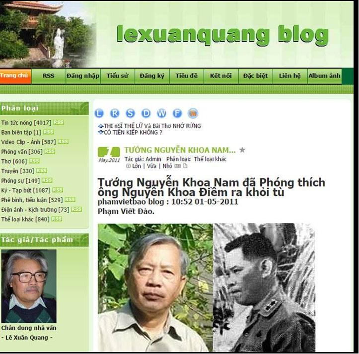 Tướng Nguyễn Khoa Nam đã phóng thích ông Nguyễn Khoa Điềm ra khỏi tù, lexuanquang blog, Gia phả Nguyễn Khoa Diệu Khuyên (vợ lớn của Trúc Hồ SBTN)