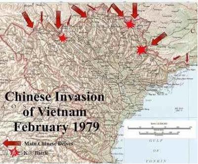 Cuộc xâm lược của 10 Quân đoàn, Quân Giải Phóng Nhân Dân Trung Quốc trong  lãnh thổ Việt Nam, tháng 17/2/1979/20/1979. Nguồn: Hoa Chí Cường.