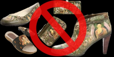 stop using Budha's image on shoes